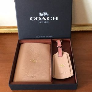 Coach Leather Passport and Luggage Tag Set in Box.